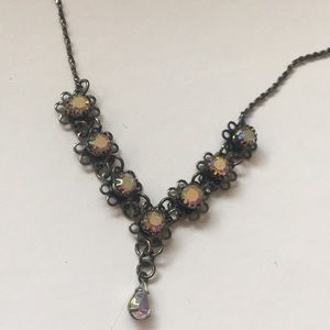 Black metals crystal necklace adjustable 14 to 17